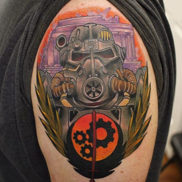 Throw On Your Power Armor With These Brotherhood of Steel Tattoos!