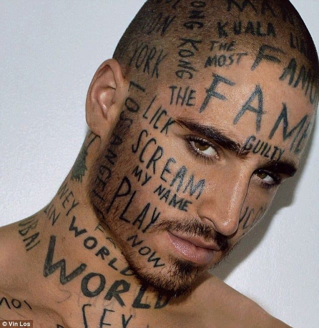 Will This Random Word Face Tattoo Make This Guy Famous
