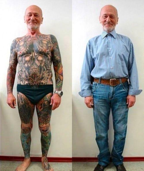 Heavily tattooed grandpa