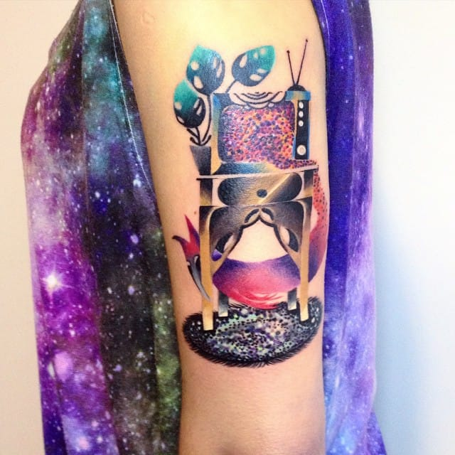 12 Colorful Watercolor Scene Tattoos By Martyna Popiel