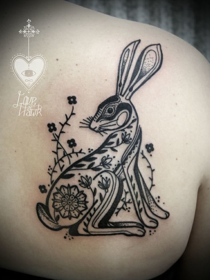 25 meaningful rabbit tattoos tattoodo. Black Bedroom Furniture Sets. Home Design Ideas