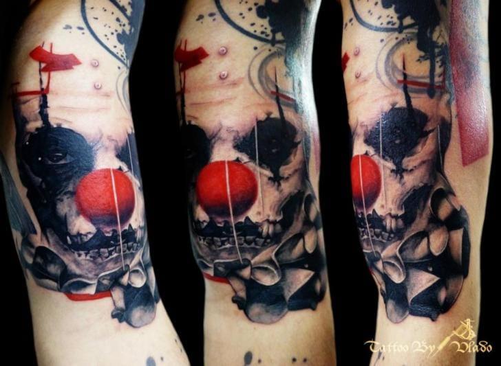 Clown Trash Polka Tattoo by Tattoo Rascal