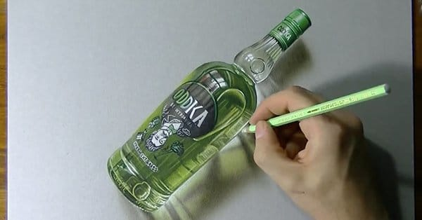 Mind-Blowing Drawing: Hyperrealistic Oddka Vodka Bottle