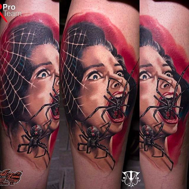 16 Bloody, Brutal and Gruesome Female Portrait Tattoos by Mirel