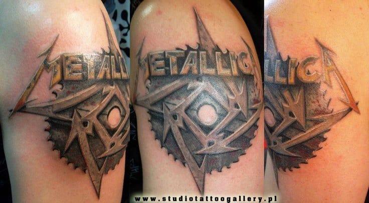 A nicely done Metallica Logo - By Marco Antonio of Kustum Kulture tattoo in Reseda, CA.
