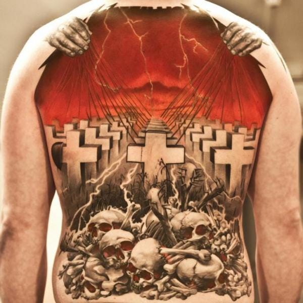Beautifull back piece of the Cover og Master of Puppets Album - Done By Niki Norberg at Wicked Tattoo Studio.