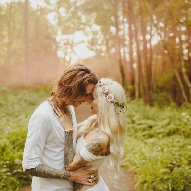 Magical Engagement Shoot Of Stunning Tattooed Couple In The Woods