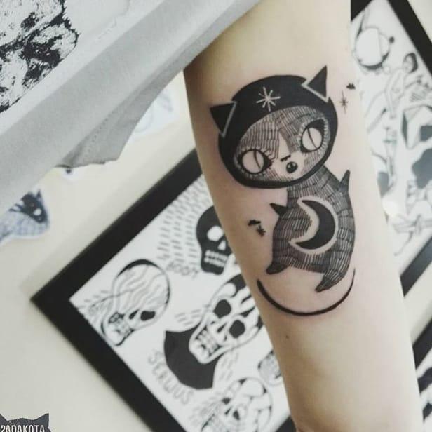 Adorable Illustrative Animal Tattoos by Panakota
