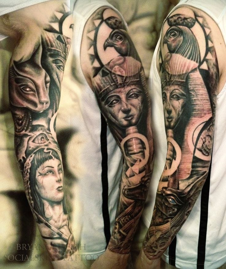 A full Ancient Egypt sleeve by Brian Griffith.