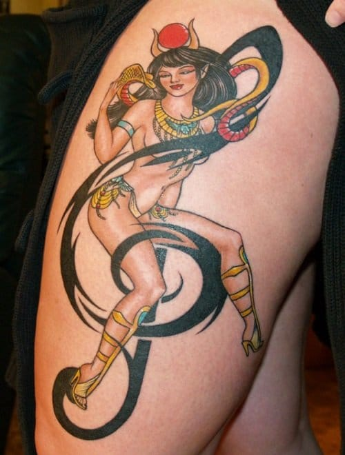 A pinup version of Hathor, goddess of music by Blue Blood Custom Tattoos in Ottawa.