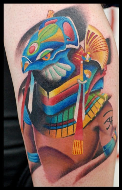Colorful Horus, the hawk god. Please credit the artist.