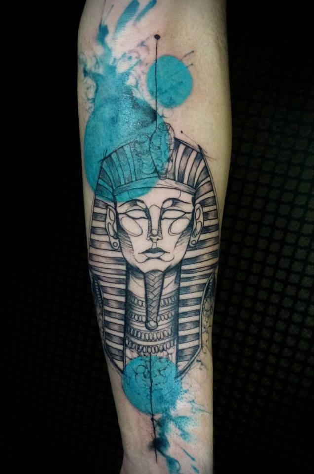 Watercolor Tutankhamun by Maxwell Alves.