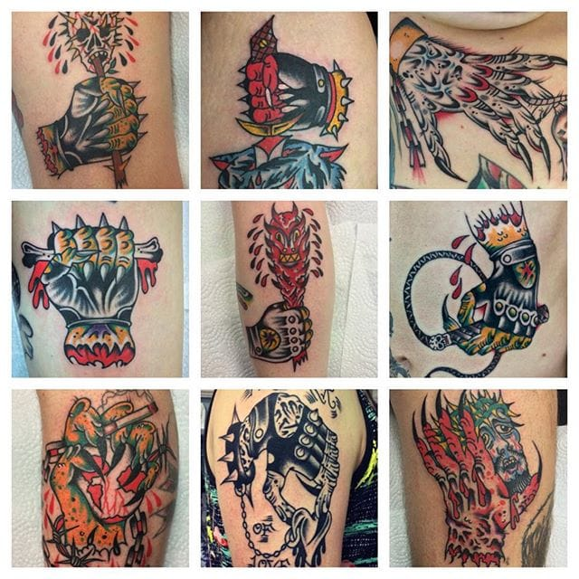 Funky Old School Hand Tattoos by Kalo Tattoos