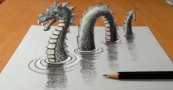 Crazy 3D Loch Ness Monster Drawing