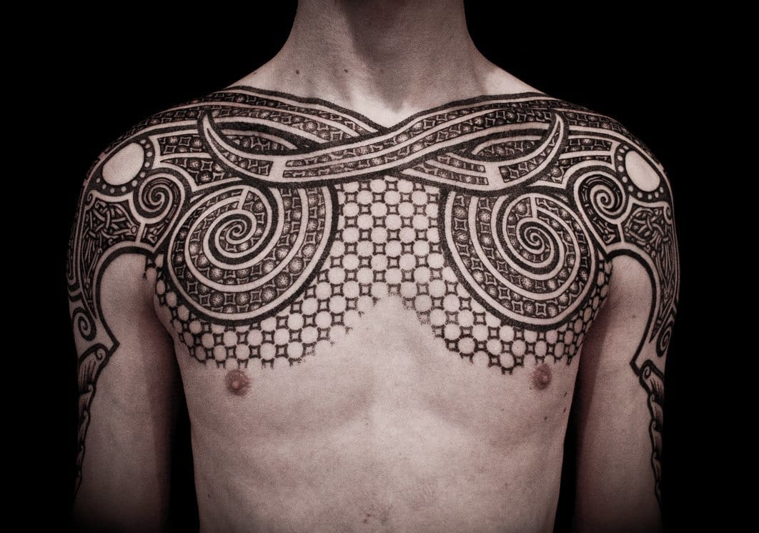 When geometric mixes with tribal, the viking art of Peter Madsen.