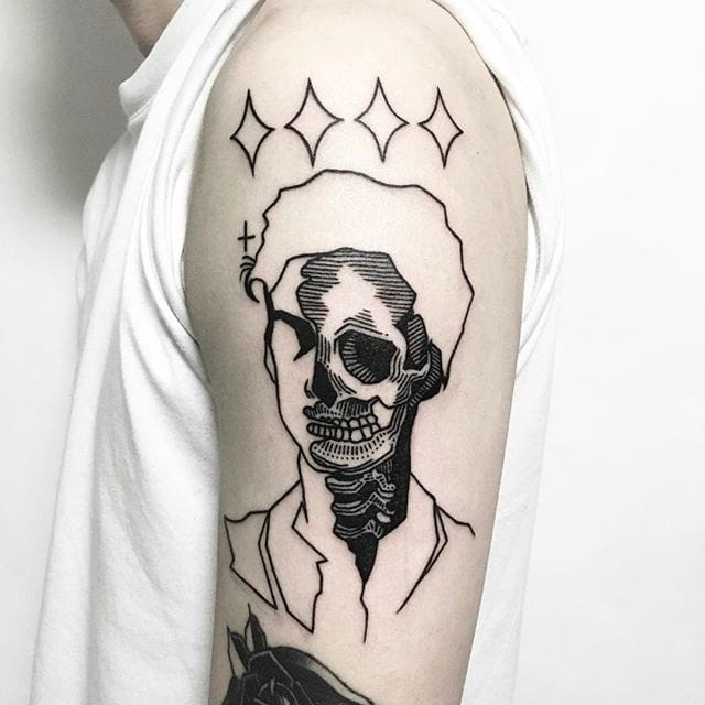 13 Skulls, Faceless People and other Dark Tattoos by Yell Tattooer