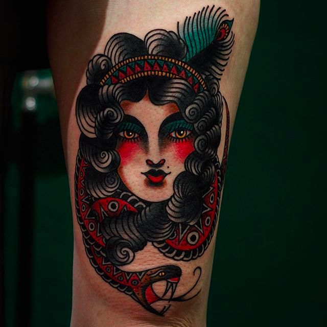 Beautiful Curly-Haired Lady Tattoos By Martina