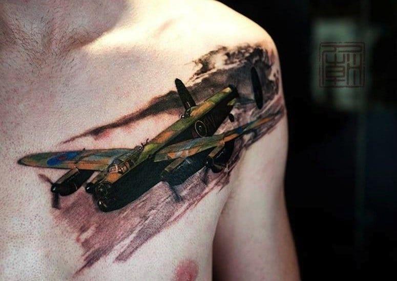 Badass war plane by Wang of Tattoo Temple.