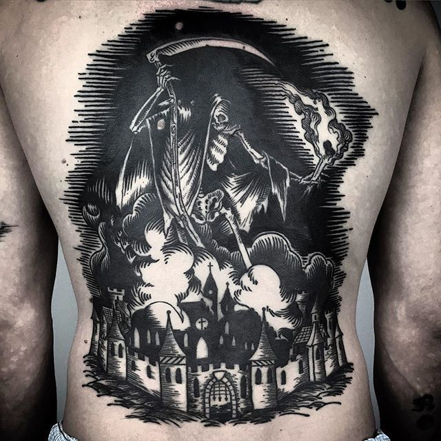 Engrossingly Dark Blackwork Tattoos by Matteo Al Denti