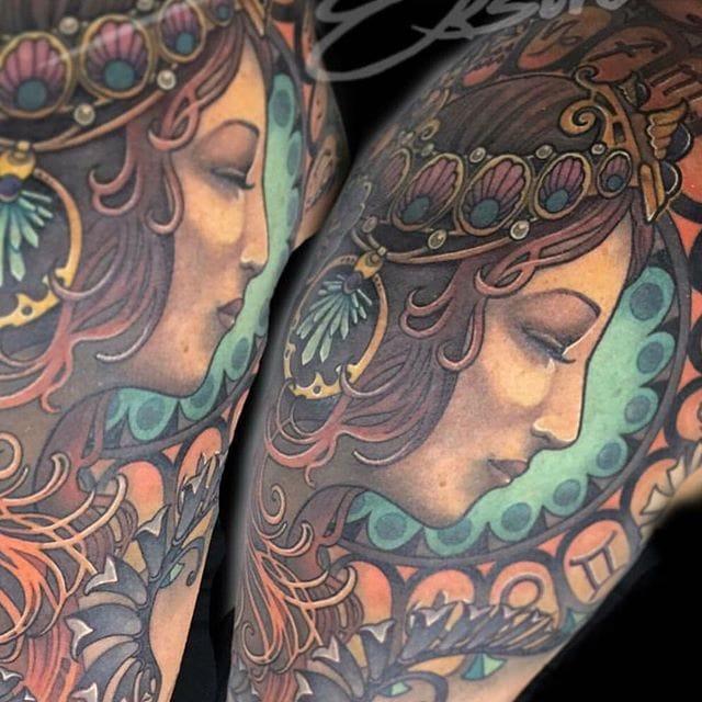 15 Sensational Alphonse Mucha Tattoos