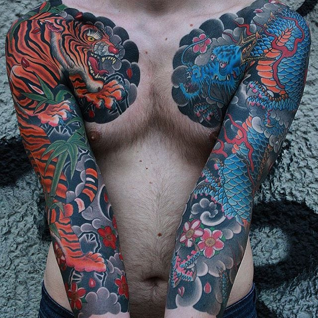Sharp and Colorful Japanese Tattoos by Jan Kurze