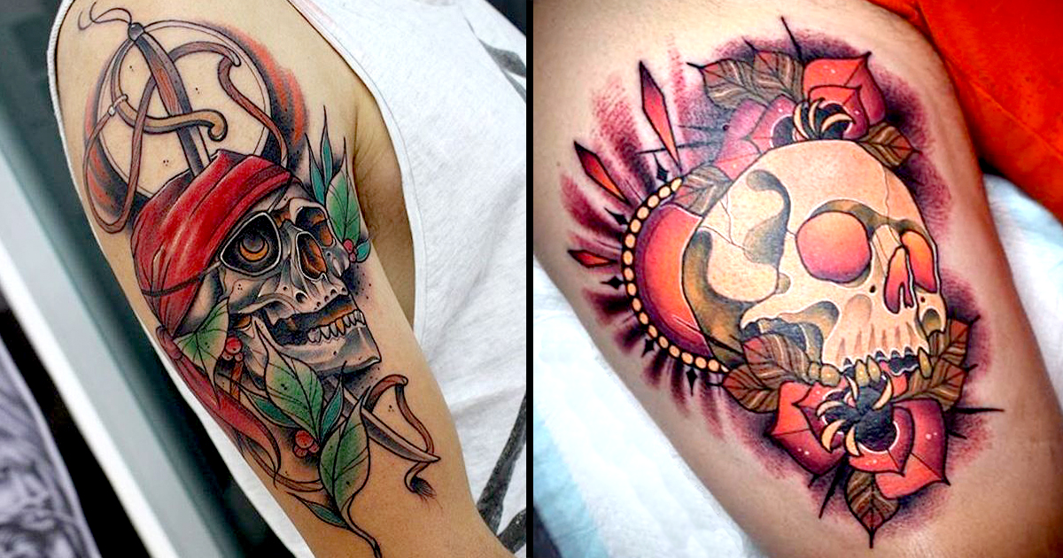 10 outstanding neo traditional skull tattoos tattoodo for Clean rock one tattoos
