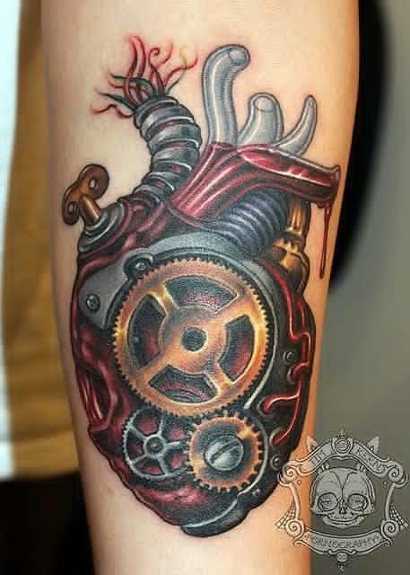 Mechanic heart tattoo by Tim Kern