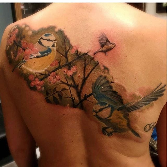 Super Fly Blue Tit Tattoos