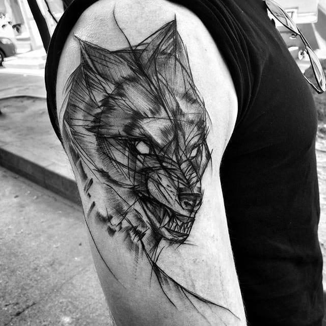 Prepossessing Blackwork Sketch Tattoos by Inez Janiak