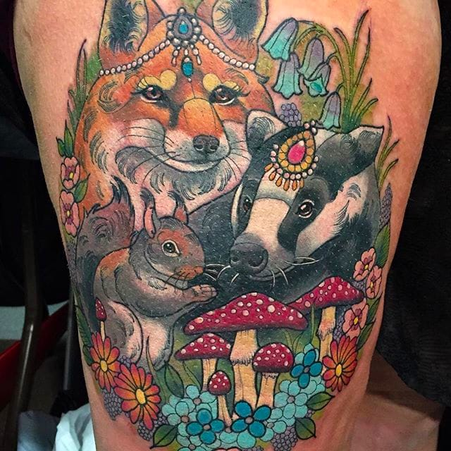 Bejeweled Cute Animal Tattoos by Ashley Luka