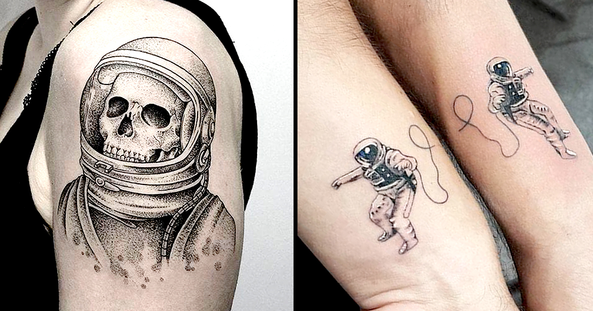 the astronaut on moon tattoo - photo #20