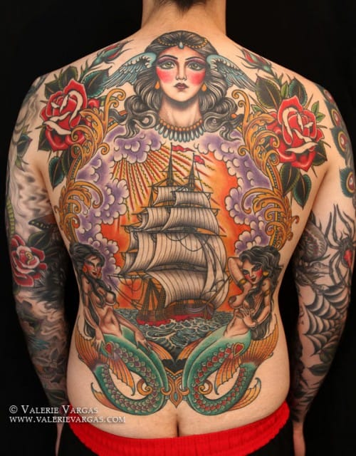 Badass old school backpiece by Valerie Vargas.