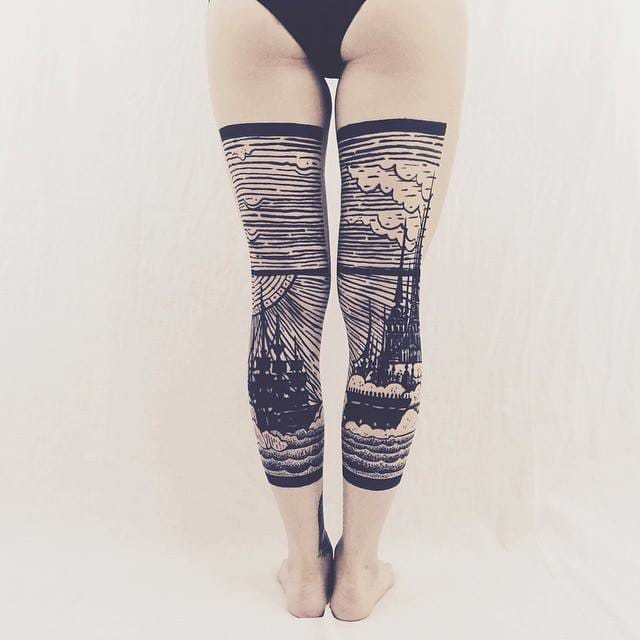 Original split leg tattoos with a ship coming back to the harbor, etching style by Thieves&Co.