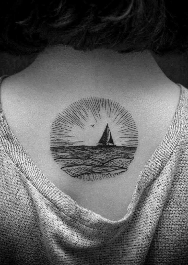 Love this delicate linework tattoo, its placement, shape and peaceful design. By Sacha Footev.