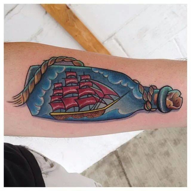 Ship in a bottle by Ink by Baker at Tattoorolo.