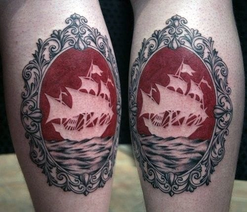 Negative space caravel with a frame by Emily Pongracz.