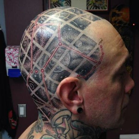 A rad constellation and space tattoo on the scalp by Cory Ferguson!