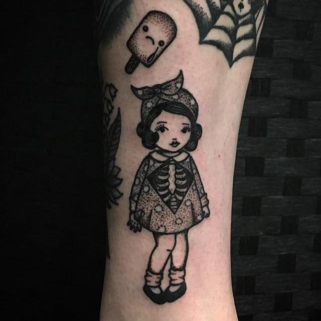 Sarah Whitehouse's Adorable Dotwork Little Girl Tattoos