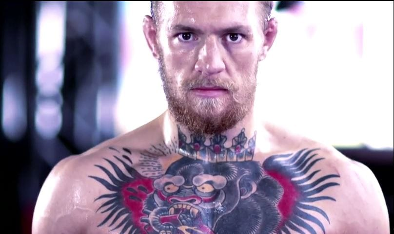 UFC fighter Conor McGregor shows his love of gorillas with this traditional chest piece