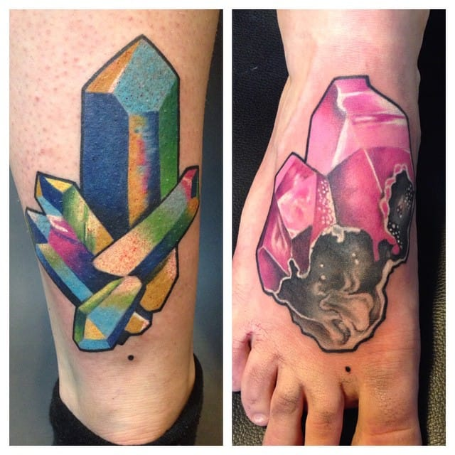 Two catchy crystal tattoos by Jessica Mach.