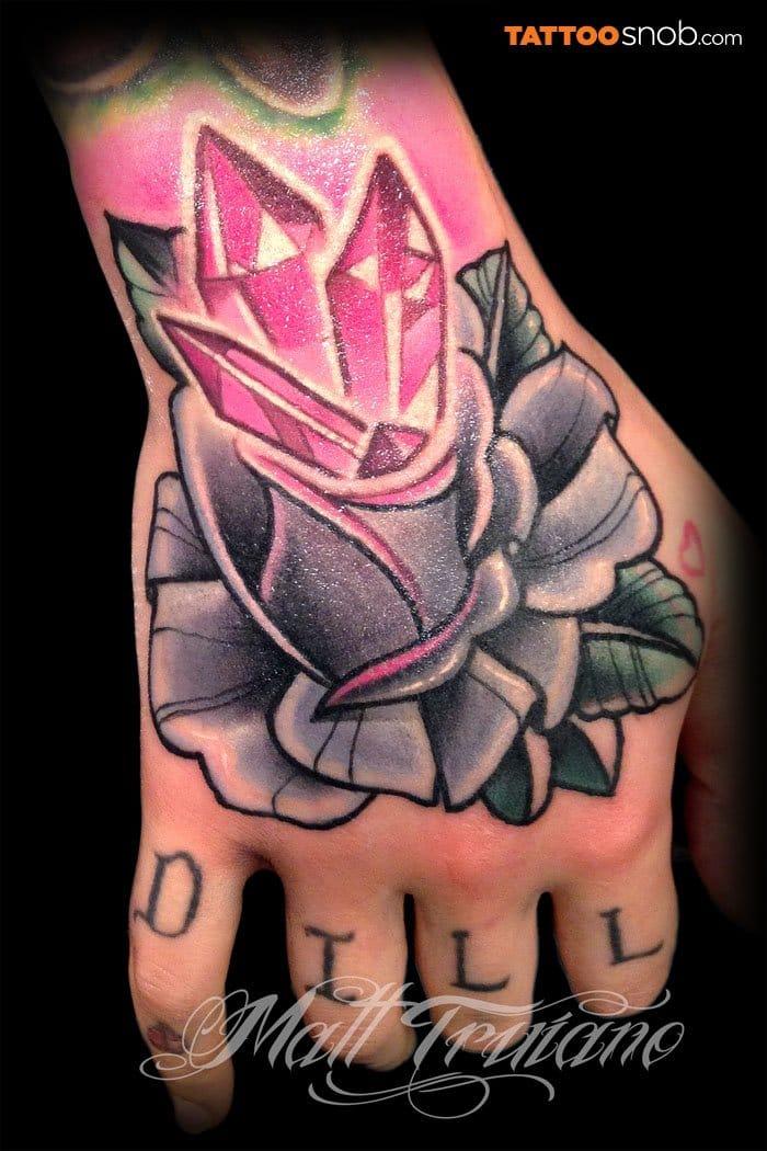 10 Magical & Sparkly Rose Quartz Crystal Tattoos