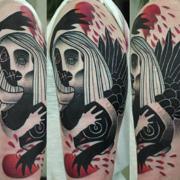 13 Dark Semi-Abstract Black and Red Tattoos by Łukasz Sokołowski