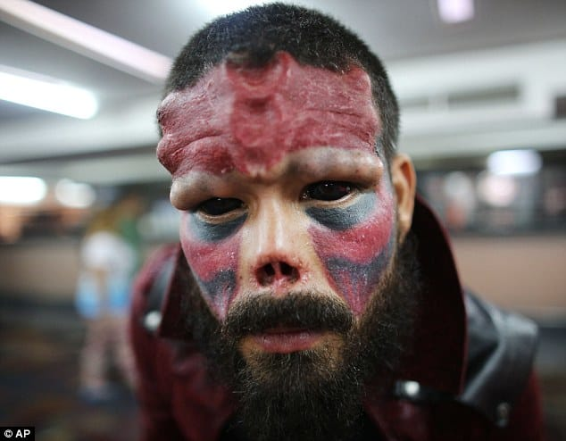 Result: Mr Damon poses during the annual Venezuela Tattoo International Expo in Caracas last week