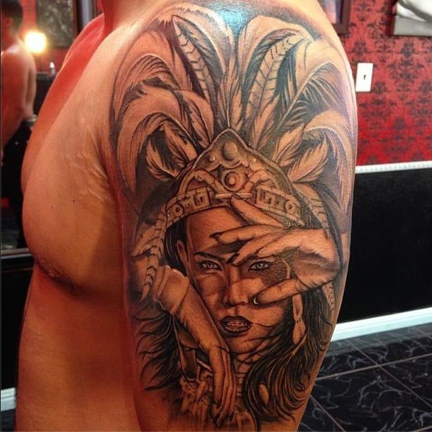 Another one by Joshua Stallworth. #aztec #aztectattoo #joshuastallworth