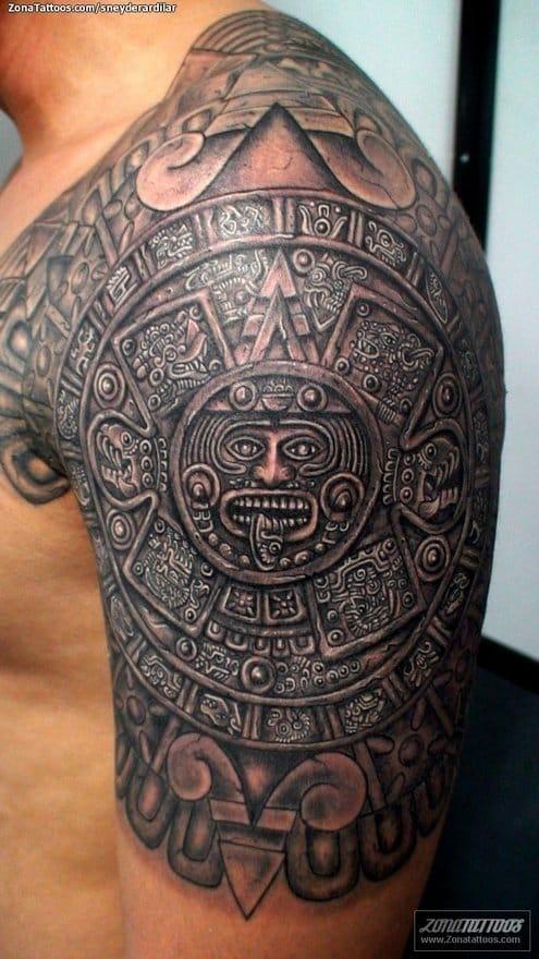 Aztec tattoos can create badass designs. Calendar shoulder tattoo, artist unknown. #aztec #aztectattoo #calendar