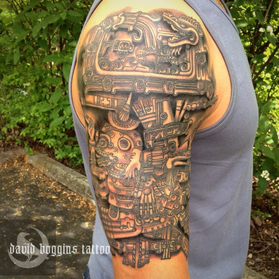 Intricate piece by David Boggins. #aztec #aztectattoo #detailed #davidboggins
