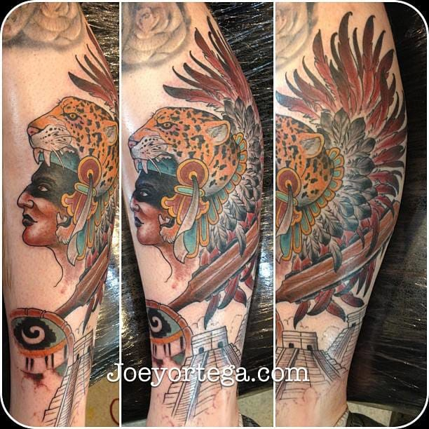 A Pre-Columbian warrior by Joey Ortega. #aztec #aztectattoo #warrior #joeyortega #precolumbian