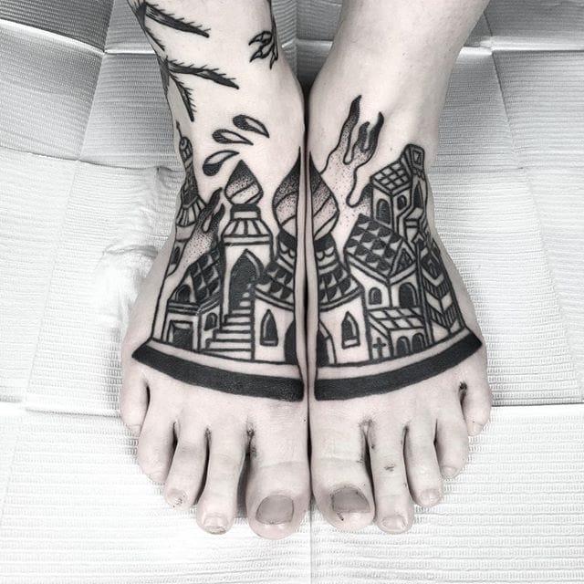 Crisp Blackwork Tattoos by Russell Winter