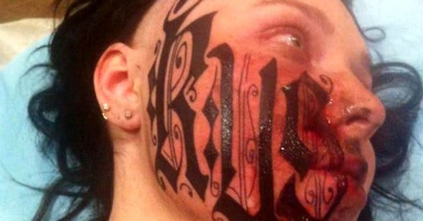 Artist Tattoos His Name Across FACE Of Girlfriend After The 1st Date!