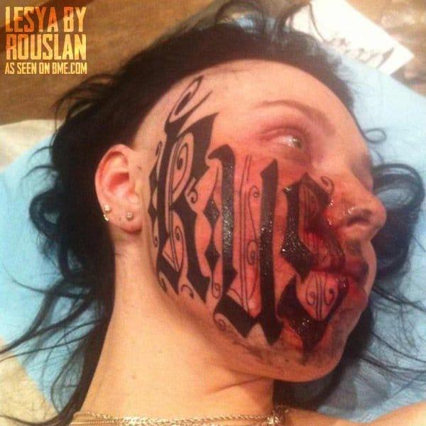 Rouslan Toumaniantz girlfriends face tattoo